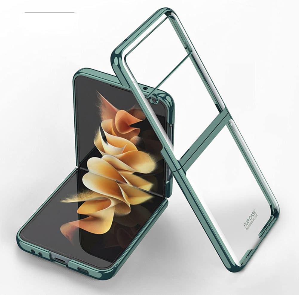 Case for Samsung Galaxy Z Flip 3 5G Phone Case Cover, Crystal Hard PC Bumper Galaxy Z Flip3 5G Crystal Case, Shockproof Anti-Scratch Transparent Covers for Galaxy Z Flip 3 5G, Dark Green