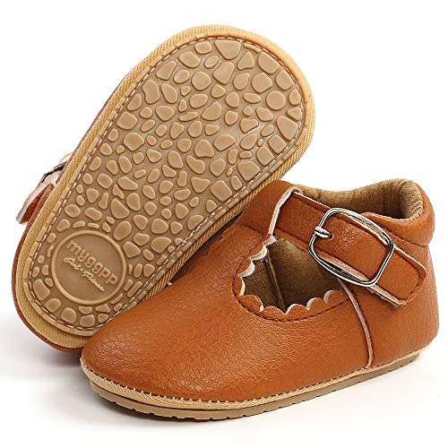 LAFEGEN Baby Girl Shoes Non Slip Soft Sole PU Leather Infant Toddler Mary Jane Flats First Walker Crib Dress Oxford Shoes 3-18 Months, 12 Brown, 3-6 Months Infant