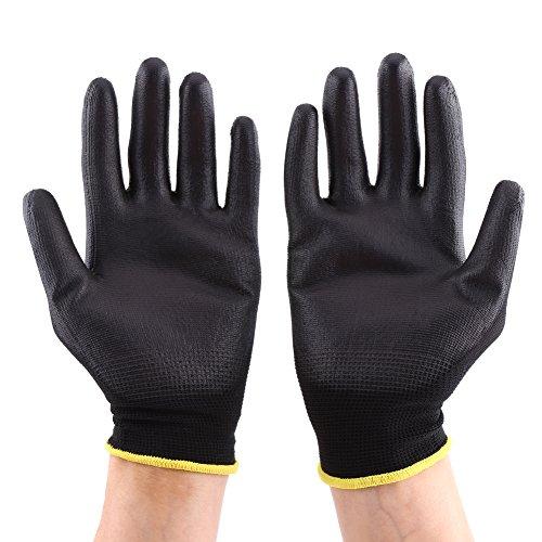Guantes de trabajo profesionales con revestimiento de poliuretano, antiestáticos, para protección electrónica IC Work, color negro, 12 pares
