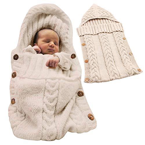 Minetom Saco de Dormir Unisex para Bebés Recién Nacidos Manta para Bebé Carrito de Bebé Blanket Manta para 0 - 12 Meses Beige 72X35 CM