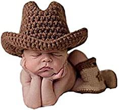 Pinbo Baby Boys Photography Prop Crochet Knitted Cowboy Hat Boots