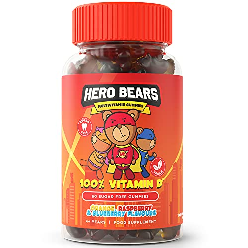 Hero Bears Kids Vitamins, Sugar Free Kids Multivitamin Gummies , Multivitamin for Kids 4yrs+ | Vegan | Orange, Raspberry and Blueberry Flavours, 2 Month Supply - 60 Count