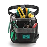 ELECALL Black Tool Pouch Bag with 6 Multiple Pockets Tool Pouches Electrician Tool Belt Pouches and Heavy Duty Oxford Material Waist Tool Bag 9'×8'