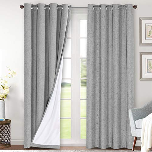 Linen Blackout Curtains 84 Inches Long 100% Total Blackout Heavy-Duty Draperies for Bedroom Living Room Thermal Insulated Textured Functional Window Treatment Anti Rust Grommet (Dove Gray, 2 Panels)