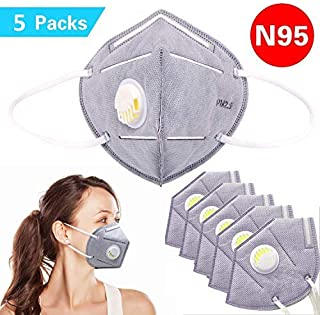 Disposable Dust Mask, N95 Particulate Respirator Face Masks with Breathing Valve Filter 5 Layer Protection Activated Carbon PM2.5 Anti Pollution Flu Masks Non-woven Earloop Mouth Mask, Pack 0f 5 Pcs