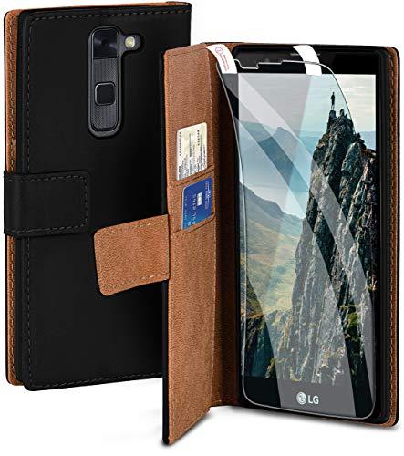 moex Handyhülle für LG Stylus 2 - Hülle mit Kartenfach, Geldfach & Ständer, Klapphülle, PU Leder Book Hülle & Schutzfolie - Schwarz