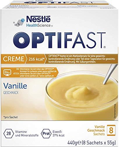 OPTIFAST home Diät Creme Vanille zum Abnehmen | eiweißreicher Mahlzeitenersatz mit wichtigen Vitaminen und Mineralstoffen | schnell und lecker | von Nestlé Health Science | 8 x 55g