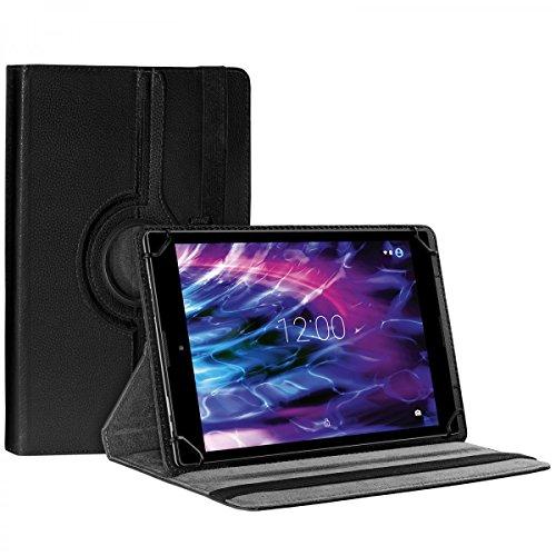 eFabrik Schutzhülle für Medion Lifetab P9702 Tasche 9.7 Zoll MD60201 Cover Hülle Schutztasche Etui 360 Grad Rotation Drehung Aufstellfunktion Leder-Optik schwarz