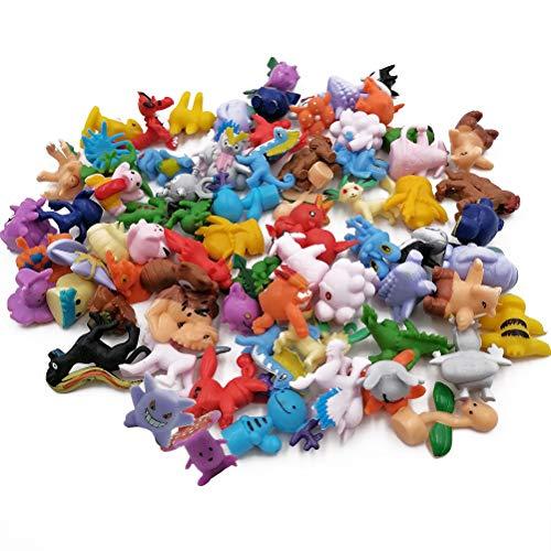 WENTS Pokemon Figuras ,Mini Figuras de plástico tamaño pequeño Regalo,La Figura de Pokémon Incluye a Pikachu, Charmander, Squirtle, niños(72 Piezas)