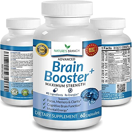 Advanced Brain Booster Supplements – 41 Ingredients Memory Focus & Clarity Vitamins Plus eBook – Boost Energy, Elevate Brain Function Nootropic Power Support with DMAE – 60 Brain Health Formula Pills