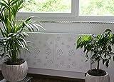 Heizkörperverkleidung , 62 x 60 cm Design: Flower Frame, weiß (Marke: Szagato) (Heizkörperabdeckung Abdeckung für Heizkörper Heizungsverkleidung)