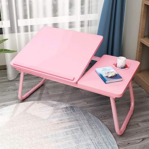GXC Computer Klapptisch, Multifunktionale Faltbare Höhenverstellbare Tischbock Aluminiumlegierung Cup Slot Snack Tisch Schlafsaal Schlafzimmer Tragbaren Tisch (Color : Pink)