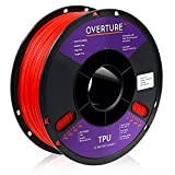 OVERTURE TPU Filament 1.75mm Flexible TPU Roll Soft 3D Printer Consumables, 1kg Spool (2.2 lbs), Dimensional Accuracy +/- 0.05 mm, 1 Pack (Red)