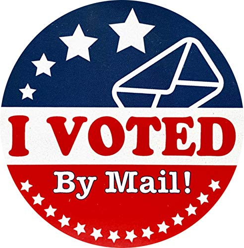 I Voted by Mail Stickers Election Day Labels 2.5 Inch Round 25 Total Labels