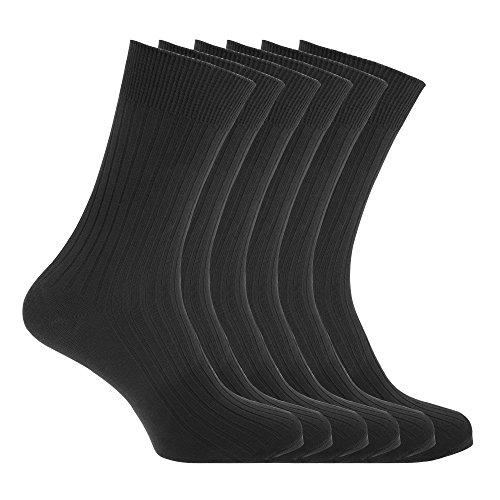 Floso Herren Baumwoll-Socken, 6 Paar (39-45 EU) (Schwarz)