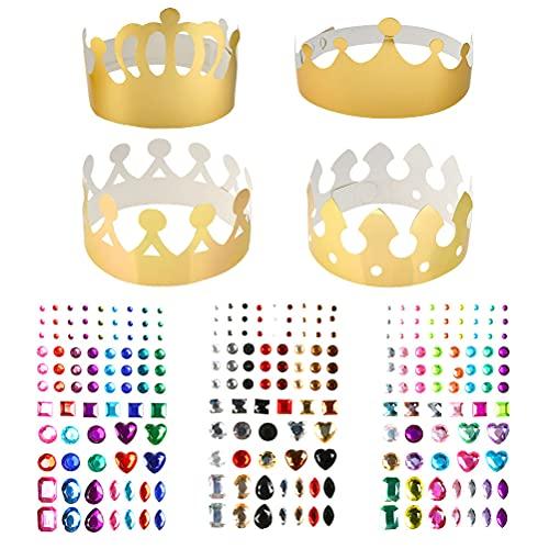 'N/A' 24 Pezzi Golden Corone di Carta Party Crown Hat cap per Birthday Celebration Baby Shower Puntelli Foto, con Adesivo con Pietre preziose Adesivo con Diamante Autoadesivo