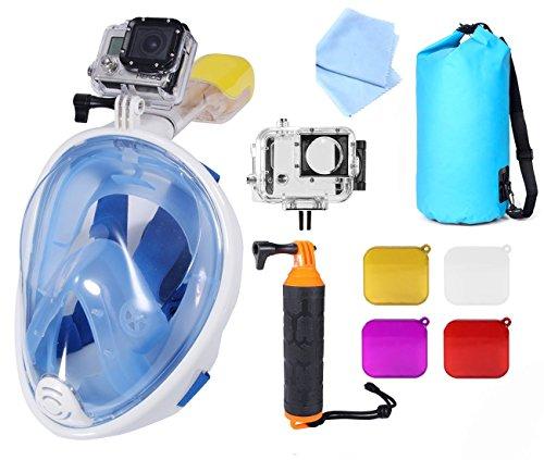 NEOpine 180 ° Full Face Mask Snorkel con Easy respiro Anti Nebbia Design.No colante con Scuba Snorkeling Diving Mask.Durable Silicone.with Floaty Grip, Panno Lenti, Custodia Impermeabile, Filtri.