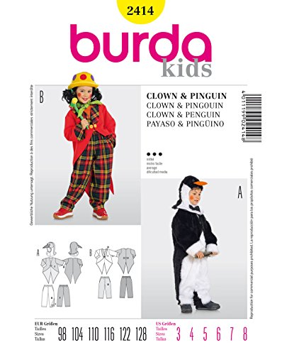 Burda 2414 Schnittmuster Kostüm Fasching Karneval Clown & Pinguin (Kids, Gr. 98-128) – Level 3 mittel