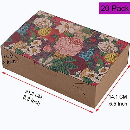 Paquete de 20 cajas de regalo para dulces, repostería, galletas, galletas, cajas de regalo decorativas caseras para hornear, panadería, magdalenas, brownies de chocolate, cajas de regalo con pegatinas