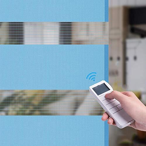 XRDSHY Duo Rollos Elektrisch Für Fenster Türen Doppelrollo Seitenzugrollo Sicht Und Sonnenschutz Lichtdurchlässig Und Verdunkelnd,Blue-50cm x 210cm
