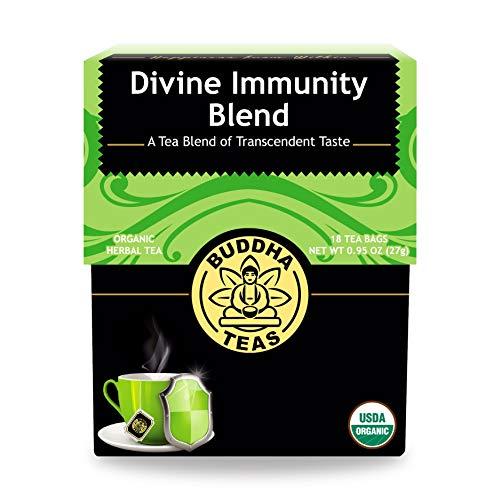 Buddha Teas Organic Divine Immunity Blend Tea | 18 Bleach-Free Tea Bags | Antiviral Properties with Antioxidants | Defense for Colds, Flu, Sick | Made in the USA | Caffeine-Free | No GMOs
