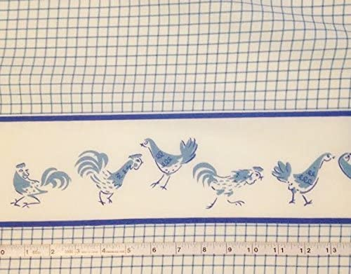 1 Cheap mail order specialty store Yard - Chickens on Blue f White Cotton Fabric Great Animer and price revision Checked