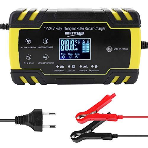 Cargador de batería de moto y coche 12V / 24V,Cargadores de baterías de Coche,Mantenimiento bateria Moto para Carga baterias con Pantalla LCD Digital