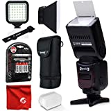 Opteka IF-980 i-TTL AF Dedicated Flash with Bounce Zoom Tilt LCD Display for Nikon Digital SLR Cameras Bundle with Opteka VL-5 High Power LED Video Light and Accessories (5 Items)