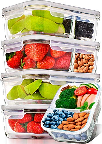 Buy Prep Naturals Glass Meal Prep Containers Glass 2 Compartment 5 Pack - Glass Food Storage Contain...