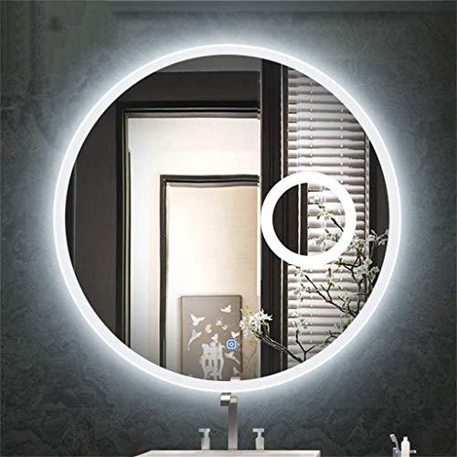 GAXQFEI Luz Redonda Luz Blanca Amplificación de Luz 3X Maquillaje Espejo Inteligente Pared Colgando Baño Belleza Silver Silver Mirror,70 cm