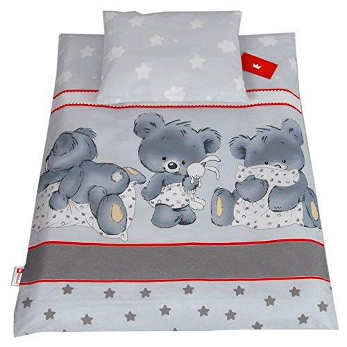 BABYLUX 2 tlg. Set Bezug für Kinderwagen Stubenwagen oder Wiege Garnitur Bettwäsche Kissen Decke 60 x 78 cm (79. Bäre Grau)