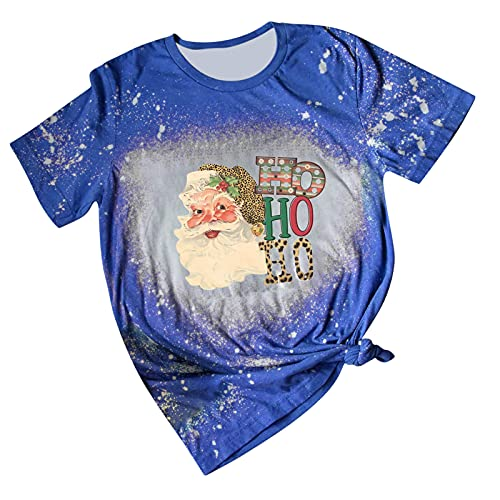 Christmas Shirts for Women Tie Dye Tops Short Sleeve T Shirt Funny Christmas Santa Claus Graphic Tees Casual Blouse Blue