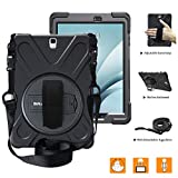 BRAECNstock for Galaxy Tab A 9.7 Case Full-Body Shock Proof Hybrid Heavy Duty Armor Protective Case for Samsung Galaxy Tab A 9.7 [SM-T550] Case with Kickstand/Hand Strap/Shoulder Strap (Black)