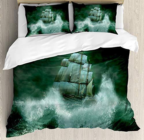 Juego de Funda nórdica de Barco Pirata, Old Ship in Thunderstorm Digital Artwork Fantasy Adventure, Juego de Cama Decorativo de 3 Piezas con 2 Fundas de Almohada, Verde Oscuro