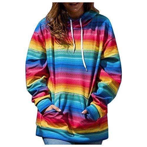 Women Fashion Sweatshirt Long Sleeve Gradient Printed Hoodie Soft Daily Tops(Multicolor,L)