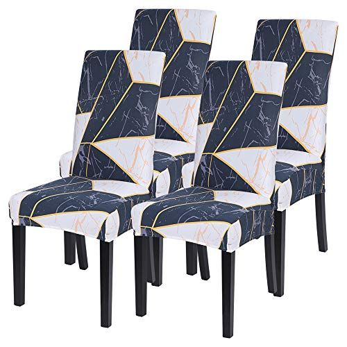 Fundas de Silla de Comedor Elásticas y Modernas, Extraíbles y Lavables, Fundas de Licra para sillas Altas 4 Piezas Fundas Protectoras para sillas (Geometric8#, Paquete de 4)