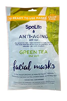 SpaLife Korean Facial Masks - 10 Pack (Green Tea)