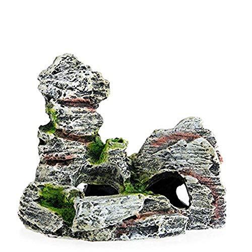 MoGist Aquarium Ornament Fish Tank Landschaftsbau Zubehör Steingarten Steinhöhle Versteck Haus Harz Verzierung Zubehör 1 Stück