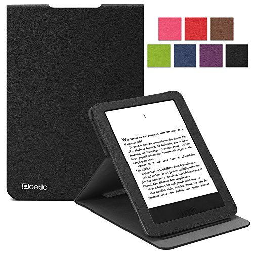 Kindle 7th Gen Case - Poetic Kindle 7th Gen Case [Sophistication Series] - [Lightweight] [Vertical Viewing Stand] PU Leather Flip Cover Case for Amazon Kindle 7th Gen Black (3 Year Manufacturer Warranty From Poetic)