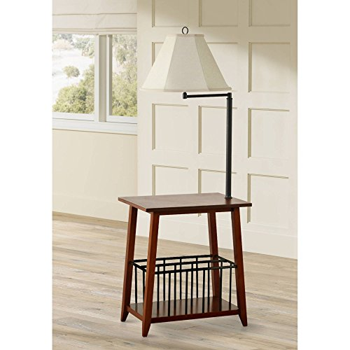 Seville Mission Floor Lamp End Table Swing Arm Oak Wood Bronze Off White Linen Shade for Living Room Reading Bedroom Office - Regency Hill