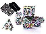 Dungeons and Dragons Dados Set, Dados de rol Dice Metal Gold Set, La Mazmorra Juego de Mesa, Cobre Dragones y Mazmorras Juego de Dados (Multicolor)