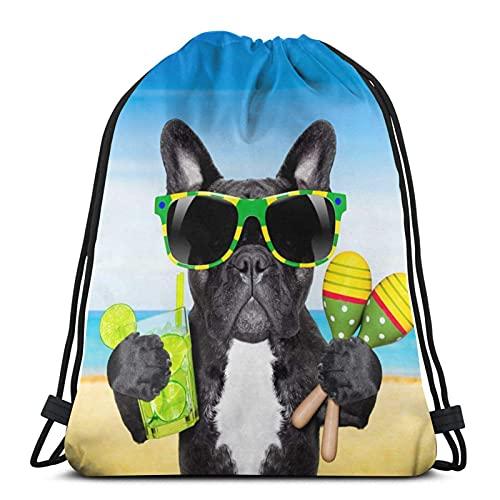 Zaino con coulisse brasile bulldog francese cane Uomo Donna Sport Palestra Sacchi Zaino Borse per Viaggiare Palestra Yoga Escursionismo in spiaggia