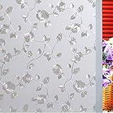 LMKJ Etiqueta engomada de Vidrio sin Pegamento 3D Hoja de Vid de Rosa película de Ventana de Vidrio Opaco Esmerilado película de Vidrio Decorativa de privacidad de Diamante A9 30x100cm
