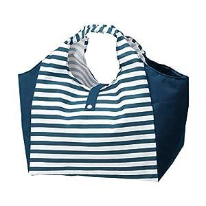 エコバッグ 折りたたみ 大容量 22140 コンパクト マチ広 ショッピングバッグ たためる おしゃれ ボーダー 買い物 袋