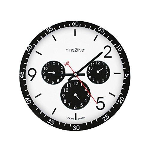 Nine2Five PCLS01NG Reloj de Pared, Tamaño Mediano, Color Blanco