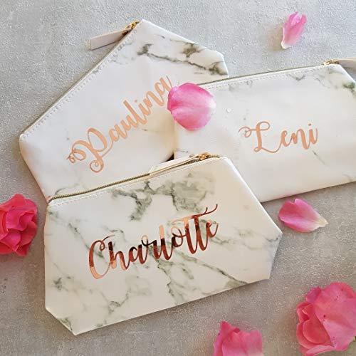 Bolso de maquillaje de mármol con nombre personalizado en oro rosa