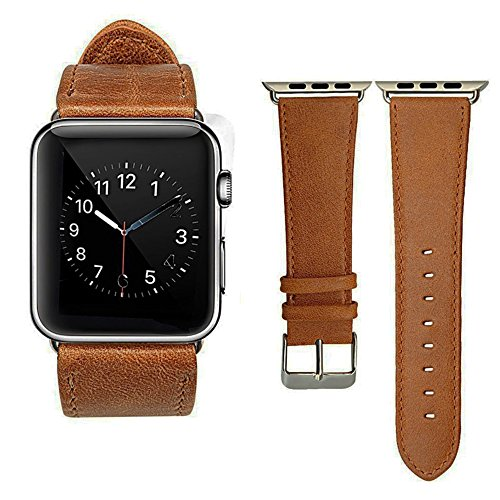 Shopizone 42mm Leather Replacement Watchband Strap for Apple I Watch Series 1 2 and 3 (Brown)