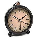 Vintage Retro Analog Alarm Clock, 4 inch Super Silent Non Ticking Small Clock with Night Light, Battery Operated, Simply Design, for Living Room, Bedroom, Bedside, Desk, Gift Clock (Roman)