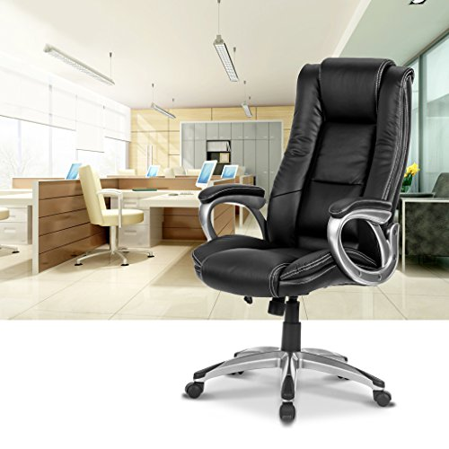 LANGRIA High-Back Executive Office Chair Black Faux Leather Computer Chair, Modern and Ergonomic Design, Well-Padded Armrests, Adjustable Seat Height, Knee Tilt Mechanism, 360 Degree Swivel, LROC-7263 Photo #7