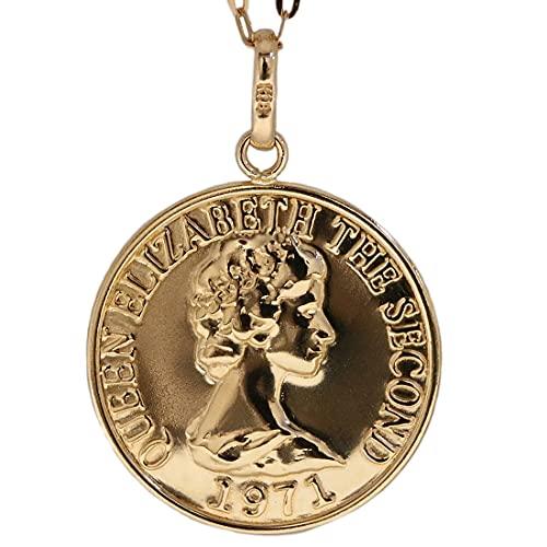 コイン クイーンエリザベスコイン ペンダント k18 シンプル ゴールド 18k 18金 チャーム 金貨 小豆 長あずき チェーン トップ アズキ ネックレス メンズ レディース